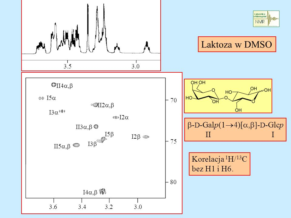 Laktoza w DMSO b-D-Galp(14)[a,b]-D-Glcp II I Korelacja 1H/13C